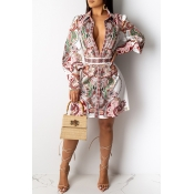 Lovely Casual Deep V Neck Printed Multicolor Knee
