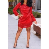 Lovely Casual O Neck Hollow-out Red Mini Dress