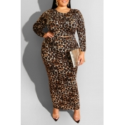 Lovely Casual Leopard Printed Plus Size Two-piece