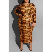 Lovely Casual Tiger Stripes Mid Calf Plus Size Dre