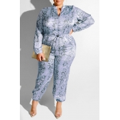 Lovely Casual Printed Grey  Plus Size One-piece Jumpsuit