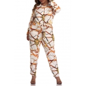 Lovely Casual Printed Plus Size Two-piece Pants Se