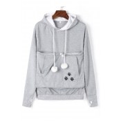 Lovely Casual Hooded Collar Embroidery Design Grey