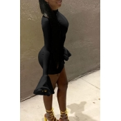 Lovely Trendy Half A Turtleneck Black Mini Dress