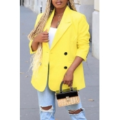 Lovely Casual Buttons Decorative Yellow Coat
