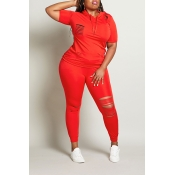 Lovely Leisure Hollow-out Red Plus Size Two-piece