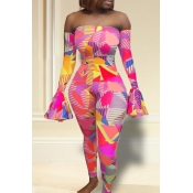 Lovely Casual Dew Shoulder Printed Pink One-piece