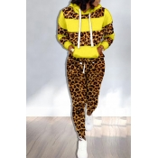 Lovely Trendy Hooded Collar Printed Yellow Two-pie