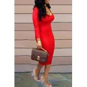 Lovely Casual U Neck Red  Knee Length Dress