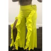 Lovely Trendy Flounce Design Yellow Pants