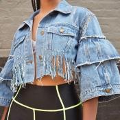 Lovely Trendy Turndown Collar Tassel Design Blue J