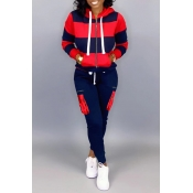 Lovely Casual Hooded Collar Patchwork Dark Blue Tw