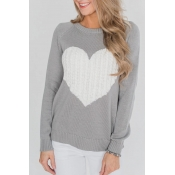 Lovely Round Neck Heart-shaped Design Grey  Sweate