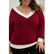 Lovely Casual Patchwork Wine Red Plus Size Sweater