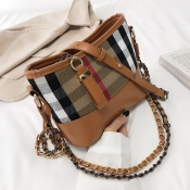 Lovely Casual Chain Strap Brown Crossbody Bag