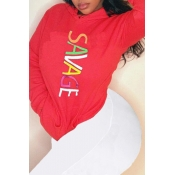 Lovely Casual Hooded Collar Letter Printed Red Hoo