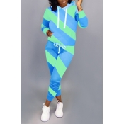 Lovely Casual Hooded Collar Patchwork Blue Two-pie