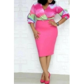Lovely Casual Gradual Change Printed Pink Knee Length Plus Size Dress