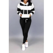 Lovely Casual Hooded Collar Patchwork Black Two-pi