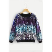 Lovely Casual Sequined Blue Sweatshirt Hoodie