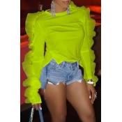 Lovely Work Flounce Design Green Blouse