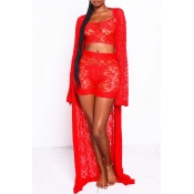 Lovely Sexy See-through Red Two-piece Shorts Set(W