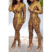 Lovely Sexy Leopard Printed Skinny Yellow One-piec