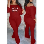 Lovely Trendy Letter Printed Red One-piece Jumpsuit