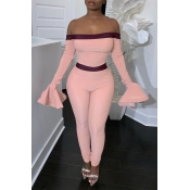 Lovely Trendy Dew Shoulder Flounce Pink One-piece