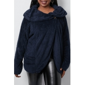 Lovely Casual Navy Blue Coat