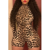 Lovely Casual Leopard Printed One-piece Romper