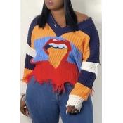 Lovely Casual Tassel Lip Multicolor Sweater
