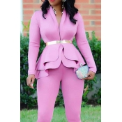 Lovely Work Deep V Neck Layered Pink Two-piece Pan