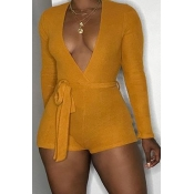 Lovely Sexy Deep V Neck Yellow One-piece Romper