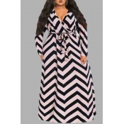 Lovely Casual V Neck Striped Printed Floor Length