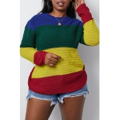 Lovely Casual O Neck Patchwork Multicolor Sweater(