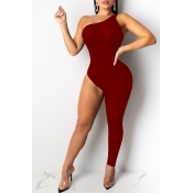 Lovely Sexy Asymmetrical Wine Red One-piece Jumpsuit