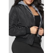 Lovely Casual Hooded Collar Black Plus Size Jacket
