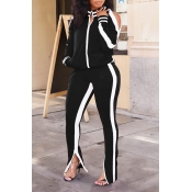 Lovely Casual Patchwork Blackish Black Two-piece Pants Set