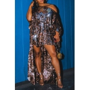 Lovely Chic Asymmetrical Sequined Multicolor Dress