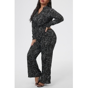 Lovely Casual Printed Black Plus Size One-piece Ju