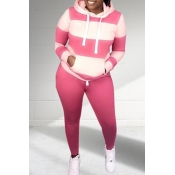 Lovely Casual Patchwork Pink Plus Size Two-piece Pants Set