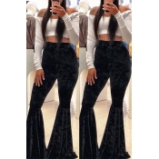 Lovely Casual Flared Black Pants