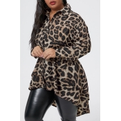 Lovely Casual Leopard Printed Plus Size Shirt