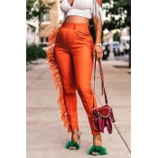 Lovely Casual Tassel Design Orange Pants