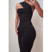 Lovely Temperament One Shoulder Ruffle Design Blac