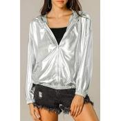 Lovely Casual Zipper Design Silver Jacket