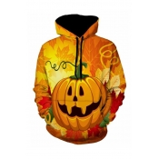 Lovely Casual Printed Yellow Hoodie