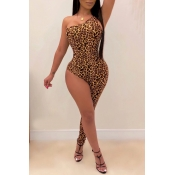 Lovely Sexy Asymmetrical Leopard Printed One-piece Jumpsuit