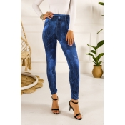 Lovely Casual Buttons Design Blue Pants